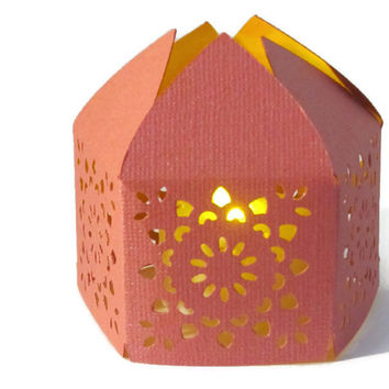 Pink Handmade Moroccan Middle Eastern Paper Wedding Lantern with LED Battery Tea Light Candle  Event Decor - Party Favor - Lighting