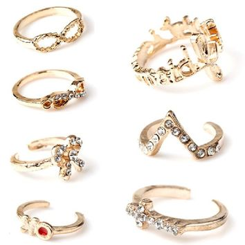 1 Set 7PCS Punk Crystal Bowknot Knuckle Midi mid Finger Tip Stacking Rings