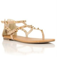 Gold Spike Suede Sandals