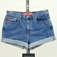 """Vintage 90s Guess Jeans High Waisted Denim Shorts, Highwaisted Blue Jean Shorts, Mid Thigh Shorts, 30"""" Waist"""