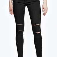 Abby High Rise Ripped Knee Skinny Jeans
