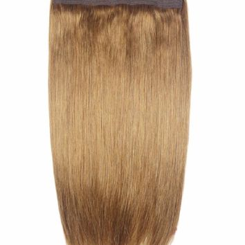 """ZZHAIR 180g 16""""-28"""" Non-remy Halo Hair Flip in Human Hair Extensions 22 Colors One piece Set Non-clip Fish Line Natural Straight"""