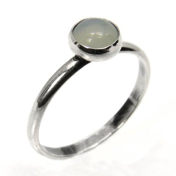 Silver Ring with Moonstone, Moonstone Stacking Ring in Sterling Silver