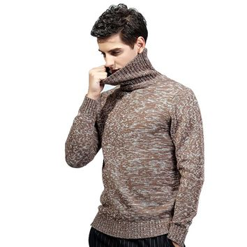 High Quality Men's Cotton Turtleneck Sweater New Winter Men Slim Thicken Knitted Pullover Man Casual Knitwear