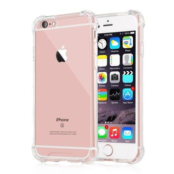 ESBONG6 iPhone 6 Plus / 6s Plus Case, iXCC Crystal Cover Case [Shock Absorption] with Transparent Hard Plastic Back Plate and Soft TPU Gel Bumper - Clear
