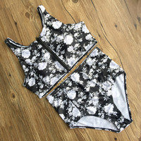Summer New Arrival Beach Swimsuit Hot High Waist Floral Zippers Sexy Backless Swimwear Bikini [10603727119]