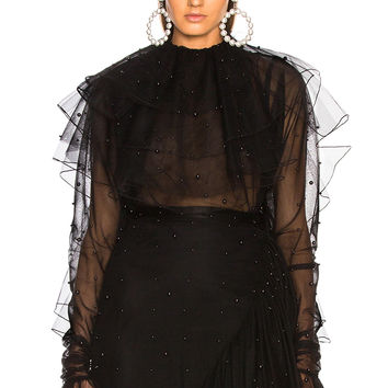 Rodarte Tulle & Black Pearl Low Back Tiered Blouse in Black | FWRD