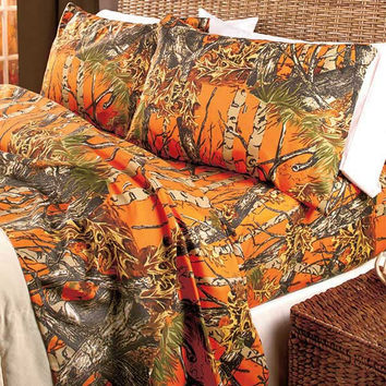 Sheet Set Camouflage King Size Cabin Country Lodge Bedding Camo Pink Orange Natural