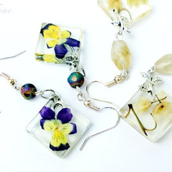 Resin Jewelry Earrings With Real Flowers Rustic Square Hook Dangle Earrings Natural Flower Jewelry Yellow Violet Ivory Colors Statement
