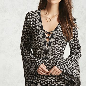 Ornate Print Bell-Sleeve Romper