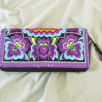 Hmong wallet purple peony wallet with zipper pom pom /Embroidered Wallet /Hmong wallet/ Tribal purse