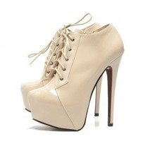 Nude Front Platform Lace Up  Shoe