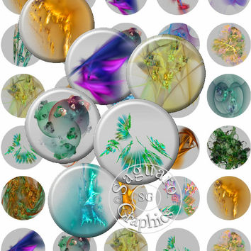 Fractal Art October - Digital Collage Sheets - 1.5 inch Circles for Jewelry Makers, Party Favors, Crafts Projects