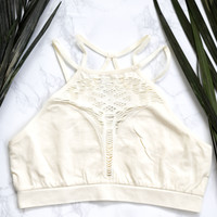 Seamless High Neck Bralette, Ivory