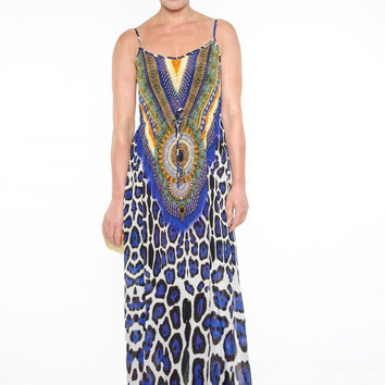 Parides Blue Jaguar Cami Dress | Luxury Resort Wear Collection