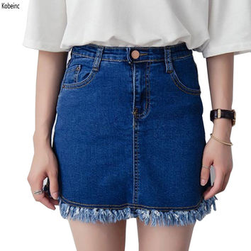 Summer High Waist Denim Skirt Slim A Word Tassel Skirts Female Package Hip Skirts Womens Plus Size Faldas Mujer