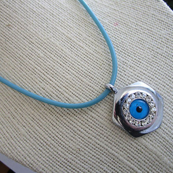 Silver tone round evil eye charm necklace - necklace with blue evil eye charm - blue cord necklace - evil eye charm chain - blue evil eye