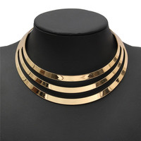 2015 Charm Choker Necklaces Women Gorgeous Metal Multi Layer Statement Bib Collar Necklace Fashion Jewelry Accessories Hot Sale