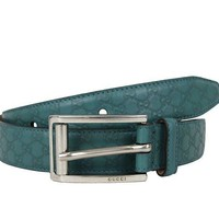 ESB1O Gucci Mens Teal Leather Guccissima Belt Metal Buckle 281798 4715 90 / 36