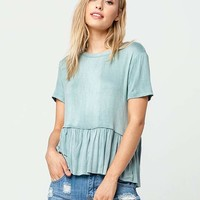 FULL TILT Washed Womens Peplum Top | Knit Tops + Tees