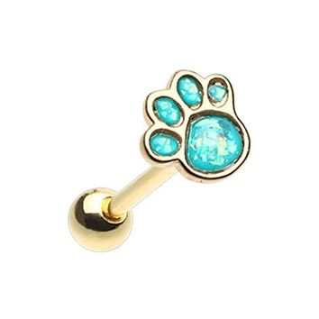 Golden Animal Lover Paw Print Opal Barbell WildKlass Tongue Ring