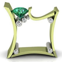 AMAZING 2.23CT GREEN ROUND 925 STERLING SILVER ENGAGEMENT AND WEDDING RING
