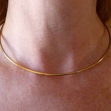 "Choker Necklace with Clasp  - Gold Plated or Gold Lacquered  - 16"" -  Strong Sturdy"