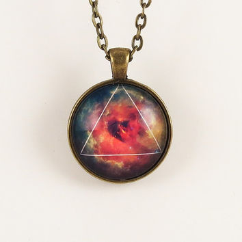Galaxy Triangle Necklace Hipster Nebula Jewelry by cellsdividing