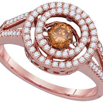 10kt Rose Gold Womens Round Cognac-brown Colored Diamond Moving Twinkle Solitaire Ring 5/8 Cttw