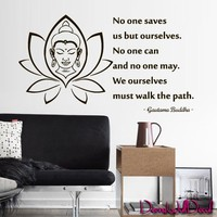 Wall Decal Buddha Quote Vinyl Sticker Decals Art Decor Design Statue Indian Yoga Om Ganesh Prayer God Kharma Chakras Style Quote Inscription Statement Dorm Bedroom (M1622)
