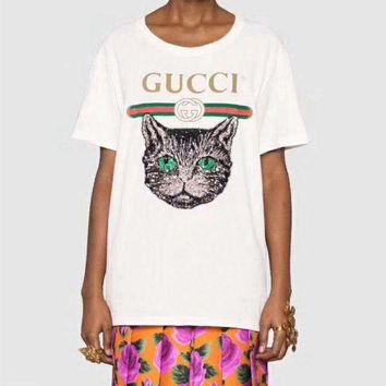 DCCKVQ8 Gucci' Women Casual Fashion Letter Cat Sequin Embroidery Short Sleeve Round Neck T-shirt Tops