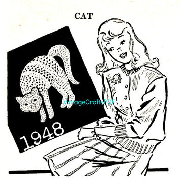 1948 Cat Applique Crochet Pattern Vintage Crochet Pattern Fun as Trim for Clothing Applique and is a Quick Jiffy Crafts Halloween Costume