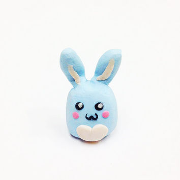 Bunny Rabbit Charm, polymer clay charm, Easter decor, Easter bunny, cute clay animal, miniature rabbit, key chain charm, necklace pendant