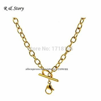 "18"" Toggle Closure Gold Rolo Chain Living Locket Floating Charms Stainless Steel LFH_018"