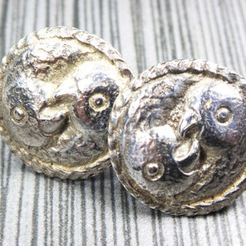 Vintage Sterling Silver Love Bird Earrings Sterling Silver Screw Back Earrings Sterling Bird Earrings Button Earrings Parrots Birds