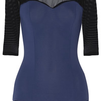 Ballet Beautiful - Two-tone mesh-paneled stretch leotard