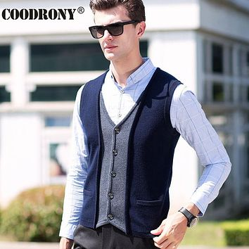 Winter Elegant Men Knitted Vest Coat V-Neck Sleeveless Cardigan Men Thick Warm Cashmere Sweater Men With Pocket