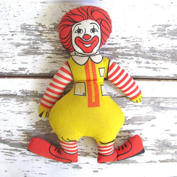 Vintage Ronald McDonald Plush Clown toy / 1970's