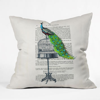 Coco de Paris Peacock On Birdcage Outdoor Throw Pillow