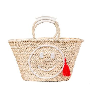Fashion Hot Summer Beach Handbag Straw Bag Smiling Face Women Shopping Tote Large Tassels Weave Woven Travel Shoulder Bag 131085