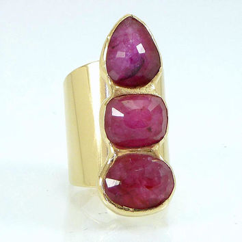 Ruby Ring, Ruby, July Birthstone Ring, Ruby Ring, Natural Madagascar Stone,Gemstone Ring, Statement Ruby Ring, Gold Ring,Cocktail Ruby Ring.