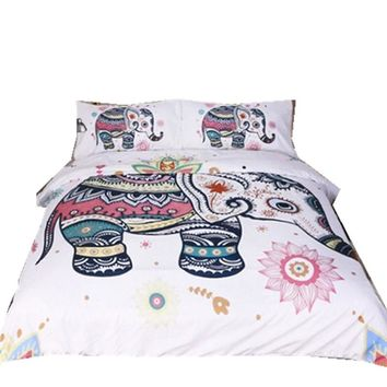 Fanaijia Elephant Bedding Set Bohemian Print Duvet Cover set with pillowcase 3pcs Design US Queen King Bed  best gift bedline