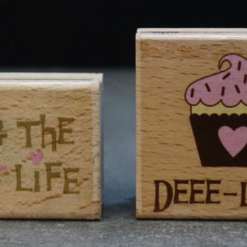 Valentine's Rubber Stamp Set | Sweet Life | Deelish Cupcake | Love Romance Wedding | Scrapbook Card Making Stamp | Romantic Sayings