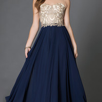 Floor Length Sleeveless Prom Dress with Embroidered Lace Embellished Sheer Bodice