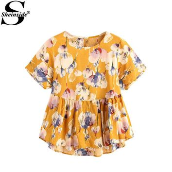 Sheinside Flower Print Keyhole Back Dip Hem Smock Blouse Summer Yellow Cute Shirt Women High Low Ruffle Hem Blouse