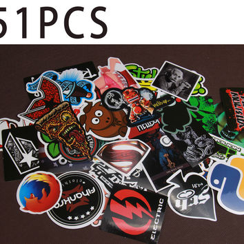 2016 Free Shipping Fixed Collocation 51PCS Mixed Decor Toy Laptop Stickers For Kids Otorcycle Skateboard Doodle Toys For Laptops