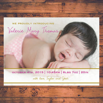Baby Announcement Birth Details New Baby Newborn Baby Girl Baby Boy Twins Keepsake Photo Cards Post Card Size Digital Printable