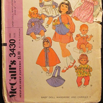 "Sale Uncut/Cut 1970's McCall's Sewing Pattern, 3430! Baby Doll Wardrobe & Carrier 14""-16"" Doll Clothes/Capes/Dresses/Jumpers/Onesuit/pants/To"