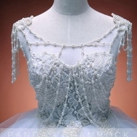 More Wonderful/wedding gown/bridal dress/bride/custom made/plus size/sweetheart neckline/train/glass pearls