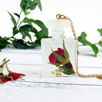 Perfume Bottle Necklace, Red Rose Pendant, Real Flower Resin Jewelry, Dry Flower Necklace, Red Rose Gift for Her, Gold Plated Chain